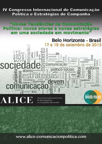 Congresos Cartel IV congreso de ALICE, Nuevas tendencias en comunicación política, Brasil 2015